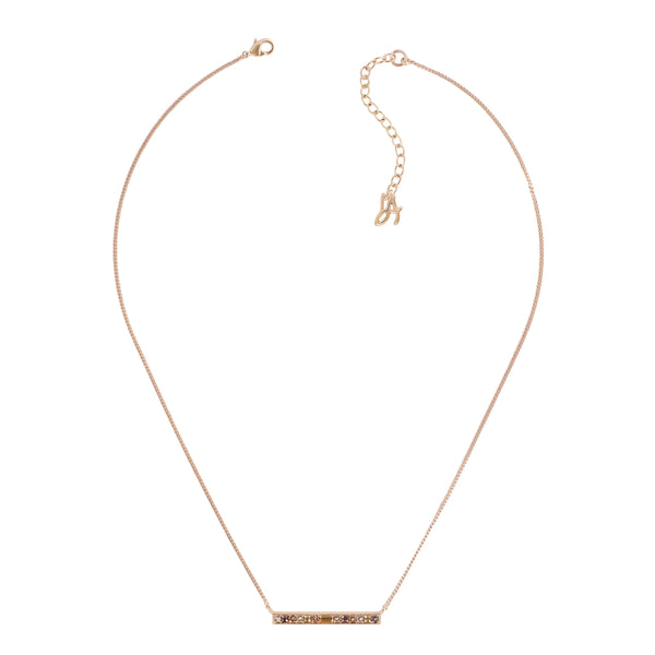 Baguette & Round Bar Necklace - Crystal/Rose Gold Plated