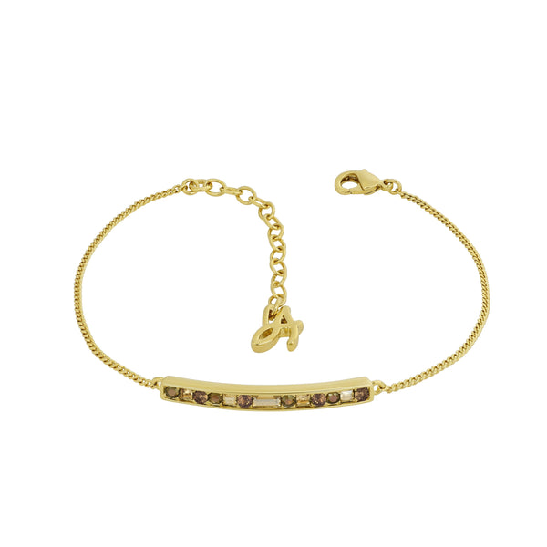 Baguette & Round Bar Bracelet - Crystal/Gold Plated