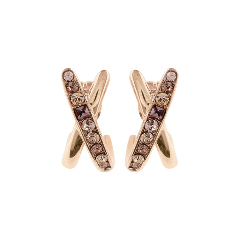 Baguette & Round Crossing Earring - Crystal/Rose Gold Plated