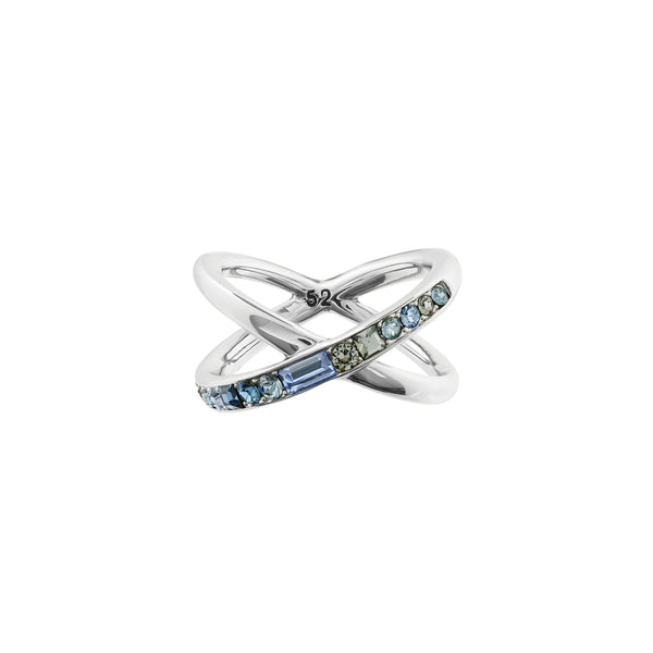 Baguette & Round Crossing Ring- Crystal/Rhodium Plated