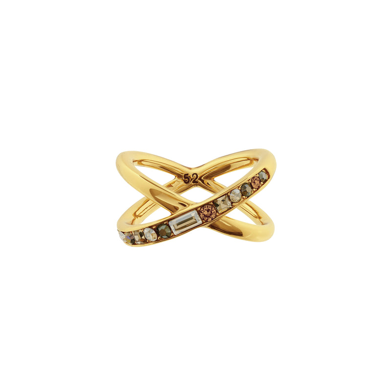 Baguette & Round Crossing Ring - Crystal/Gold Plated