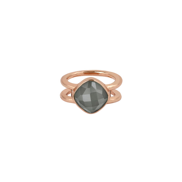 Soft Square Stone Cushion Ring - Crystal/Rose Gold Plated