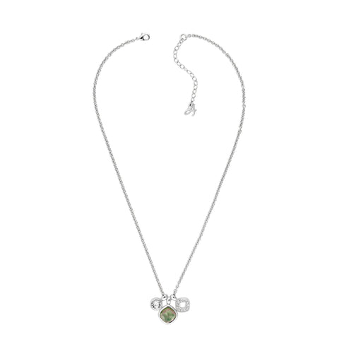 MOP Doublet Charm Necklace - Crystal/Rhodium Plated