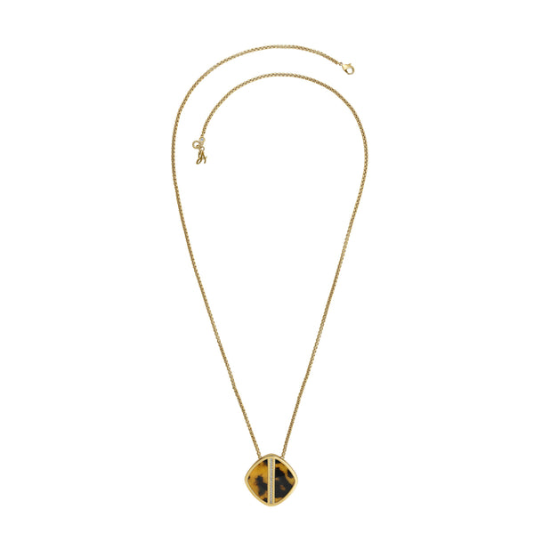 Resin Soft Square Lg Necklace - Crystal/Gold Plated
