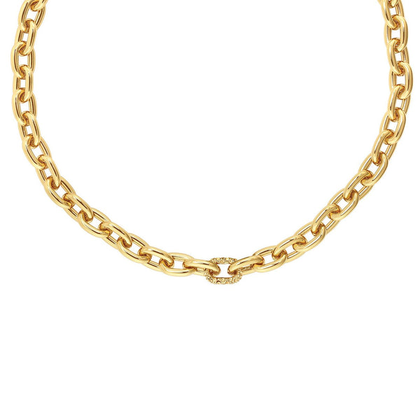 Lozenge Chain & Pave Necklace