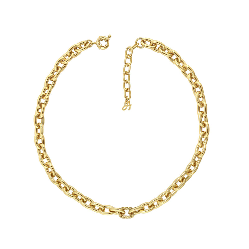 Lozenge Chain & Pave Necklace - Crystal/Gold Plated