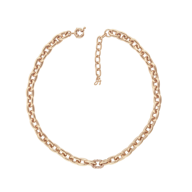 Lozenge Chain & Pave Necklace - Crystal/Rose Gold Plated