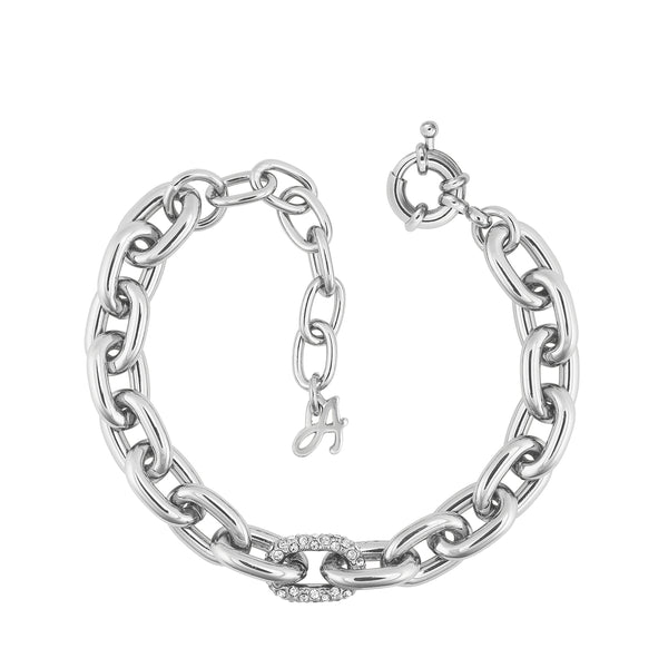 Lozenge Chain & Pave Bracelet - Crystal/Rhodium Plated