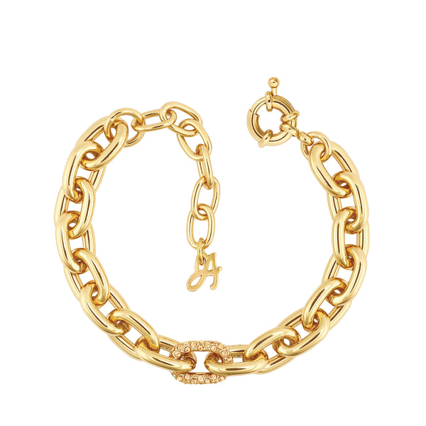 Lozenge Chain & Pave Bracelet - Crystal/Gold Plated