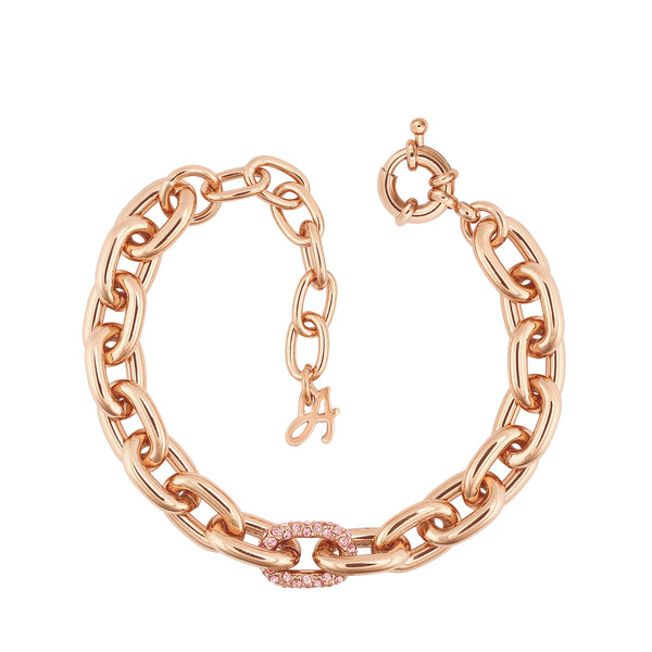 Lozenge Chain & Pave Bracelet - Crystal/Rose Gold Plated