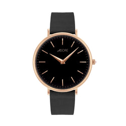 Signature 33mm Black Leather Watch - Rose Gold Plated / Swarovski® Crystal
