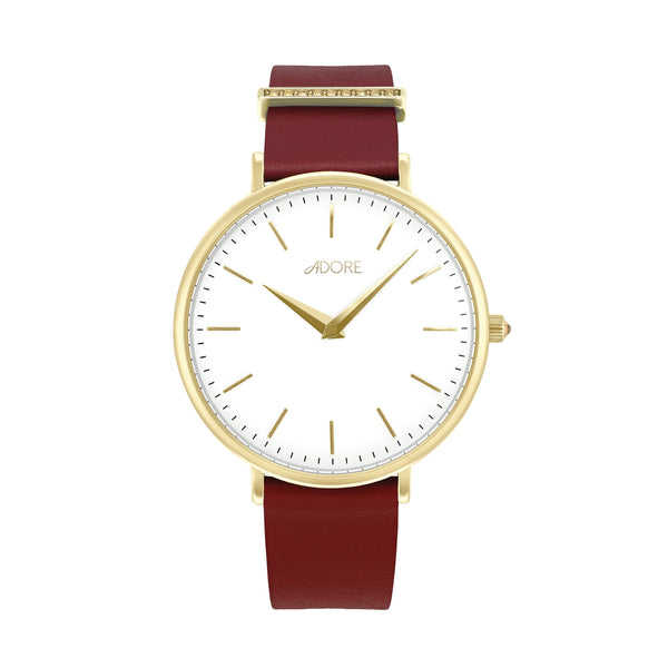 Elegance 33mm Red Leather Watch - Gold Plated / Swarovski® Crystal