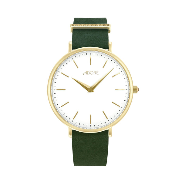 Elegance 33mm Green Leather Watch - Gold Plated / Swarovski® Crystal