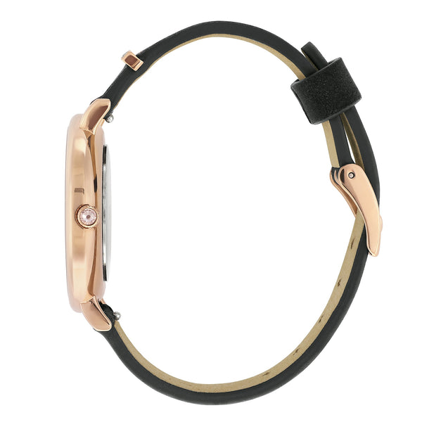 Elegance 33mm Black Suede - Rose Gold Plated / Swarovski® Crystal