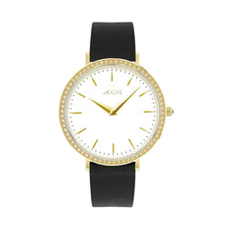 Brilliance 33mm Black Leather Watch - Gold Plated / Swarovski® Crystal