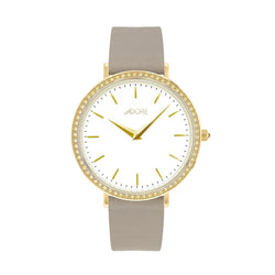 Brilliance 33mm Grey Leather Watch - Gold Plated / Swarovski® Crystal