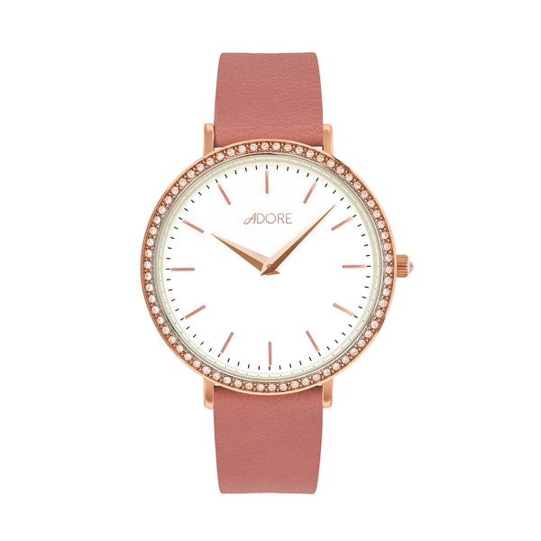 Brilliance 33mm Pink Leather Watch - Rose Gold Plated / Swarovski® Crystal