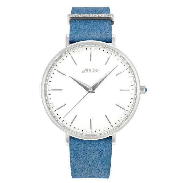 Elegance 38mm Lt Blue Leather Watch - Rhodium Plated / Swarovski® Crystal