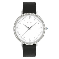 Brilliance 38mm Black Leather Watch - Rhodium Plated / Swarovski® Crystal