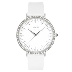 Brilliance 38mm White Leather Watch - Rhodium Plated / Swarovski® Crystal