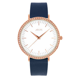 Brilliance 38mm Navy Leather Watch - Rose Gold Plated / Swarovski® Crystal