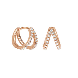 Adore Elegance Pavé Double Mini Hoops Detail