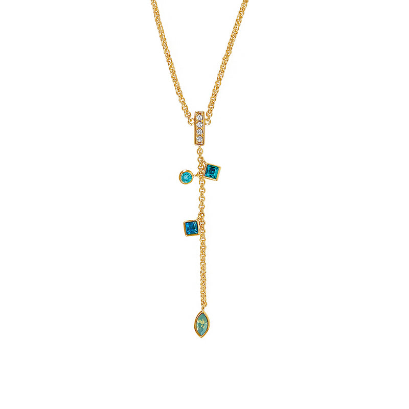 Adore Brilliance Crystal Charm Drop Y Necklace Detail