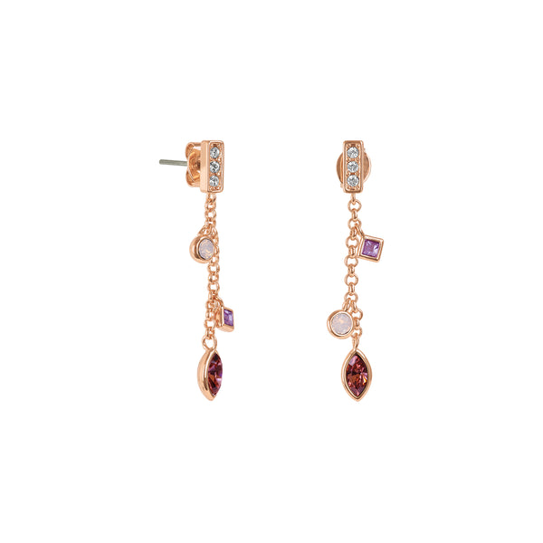 Adore Brilliance Crystal Charm Drop Chain Earrings Detail
