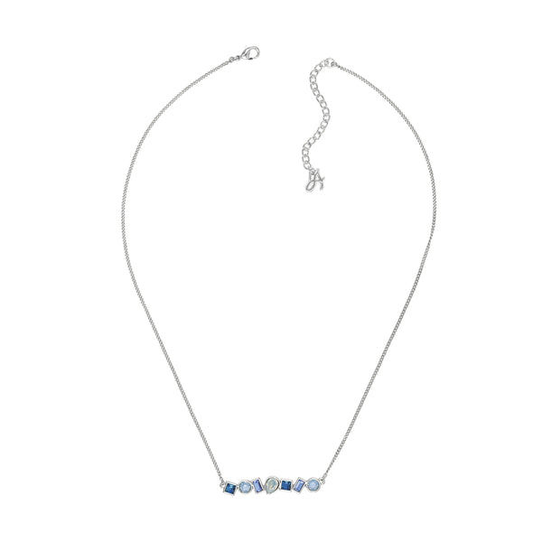 Mixed Crystal Bar Necklace - Blue Multi/Rhodium Plated