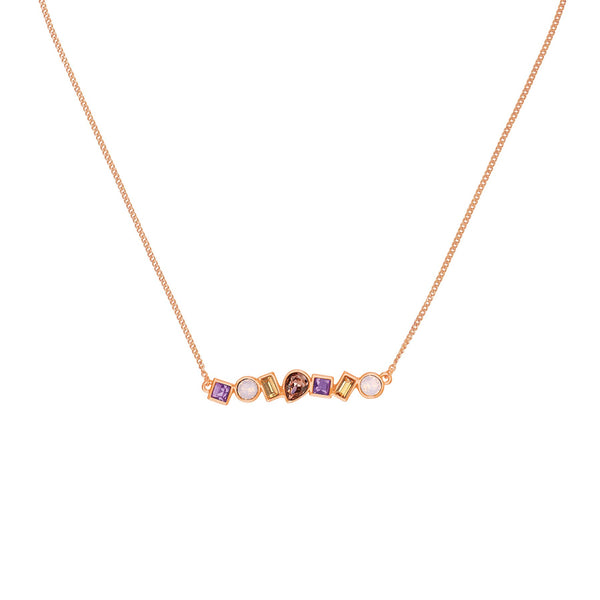 Adore Brilliance Mixed Crystal Bar Necklace Detail