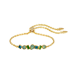 Mixed Crystal Bar Slide Bracelet - Turquoise Multi/Gold Plated