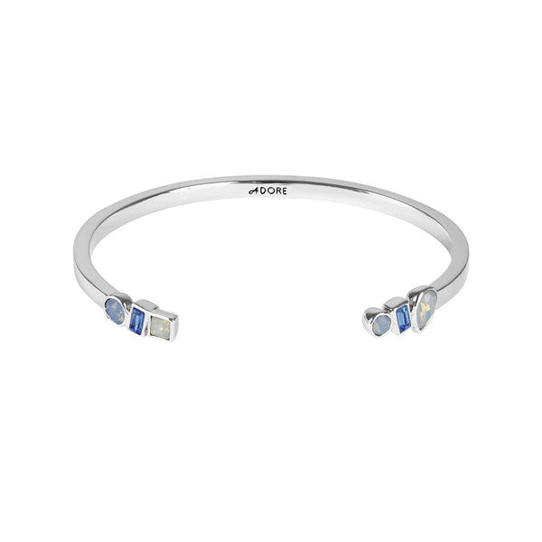 Mixed Crystal Cuff - Blue Multi/Rhodium Plated