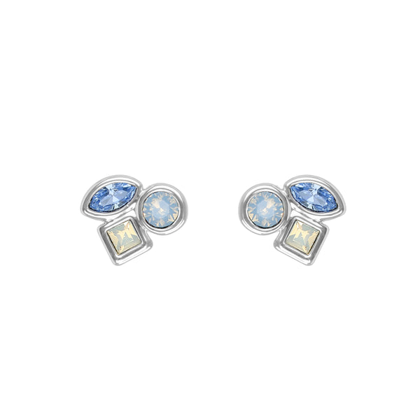 Mini Mixed Crystal Stud Earrings - Blue Multi/Rhodium Plated