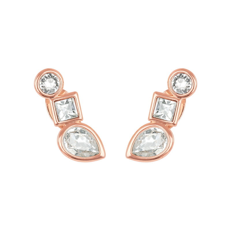 Adore Brilliance Mixed Crystal Linear Stud Earrings Detail