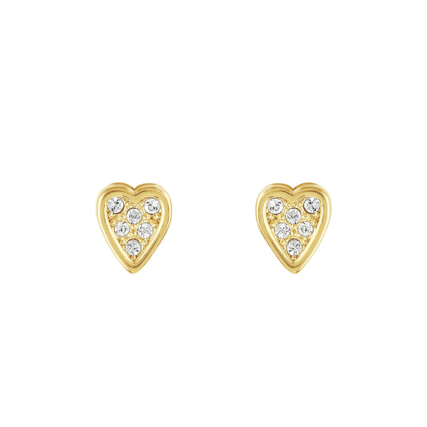 Mini Heart Stud Earrings - Crystal/Gold Plated