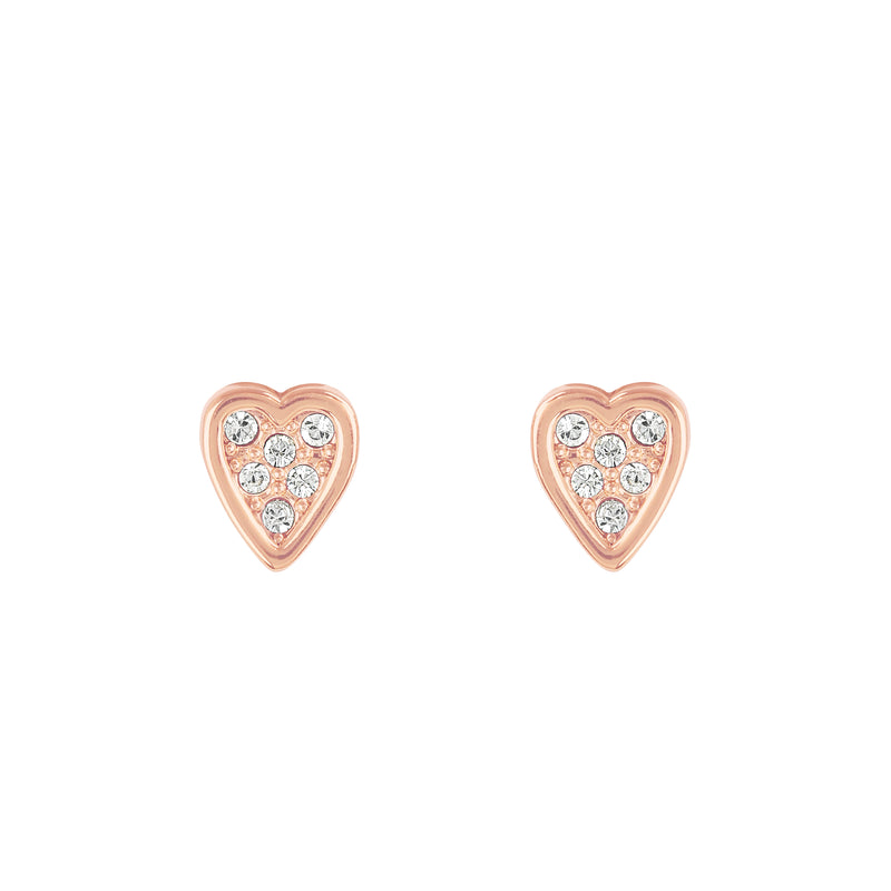 Mini Heart Stud Earrings - Crystal/Rose Gold Plated