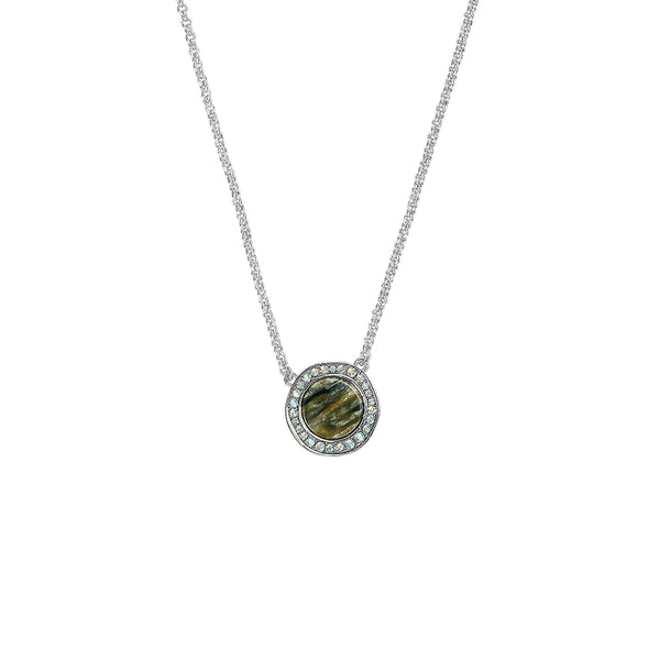 Organic Circle Resin Pendant Necklace - Crystal/Rhodium Plated