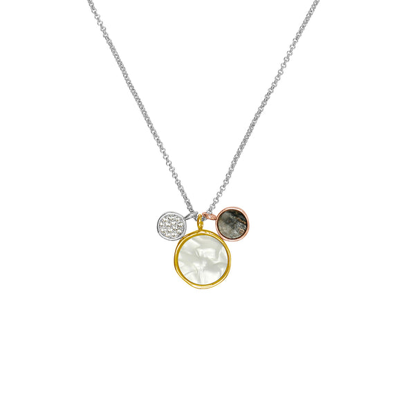 Small Organic Circle Resin Charm Necklace - Crystal/Rhodium/Gold/Rose Gold Plated