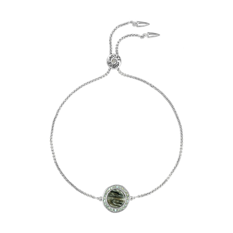 Organic Circle Resin Slide Bracelet - Crystal/Rhodium Plated