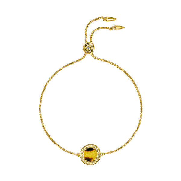 Organic Circle Resin Slide Bracelet - Crystal/Gold Plated