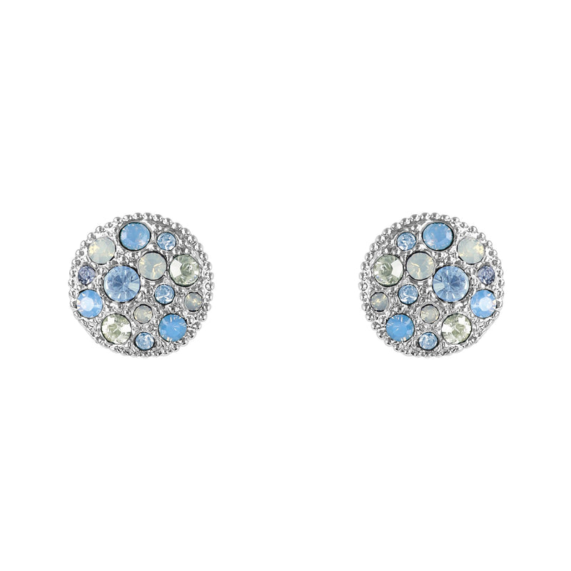 Adore Shimmer Metallic Pavé Disc Stud Earrings Detail