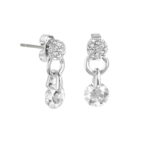 Pavé & Round CZ Earrings - Crystal/Rhodium Plated