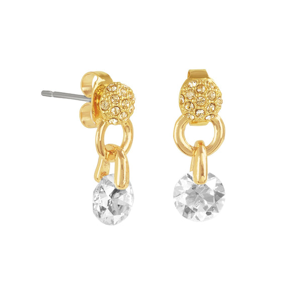 Pavé & Round CZ Earrings - Crystal/Gold Plated
