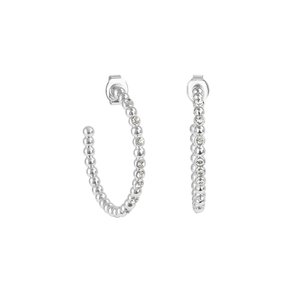Crystal Beaded Large Hoops - Crystal/Rhodium Plated