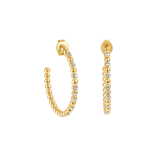 Crystal Beaded Large Hoops - Crystal/Gold Plated