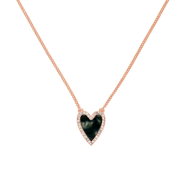 Pavé Resin Heart Necklace - Crystal/Rose Gold Plated