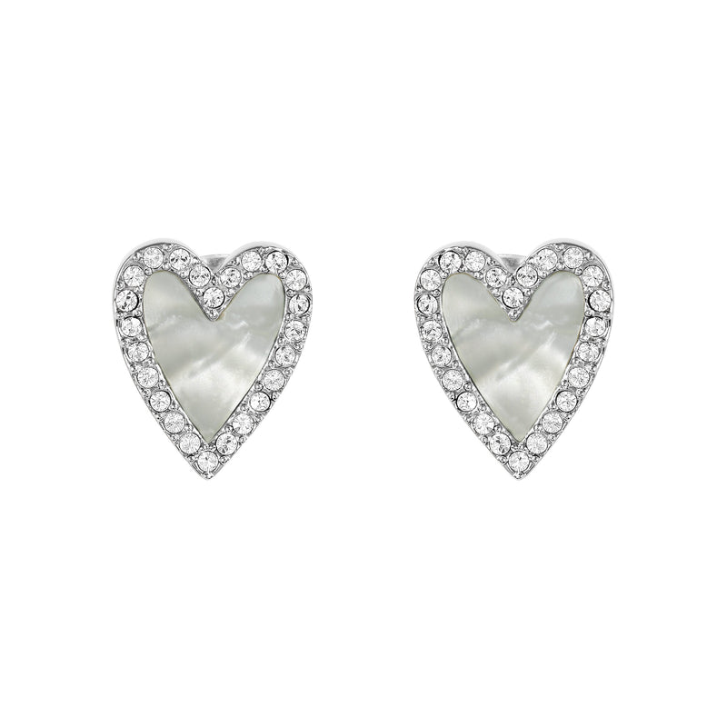 Pavé Resin Heart Earrings - Crystal/Rhodium Plated