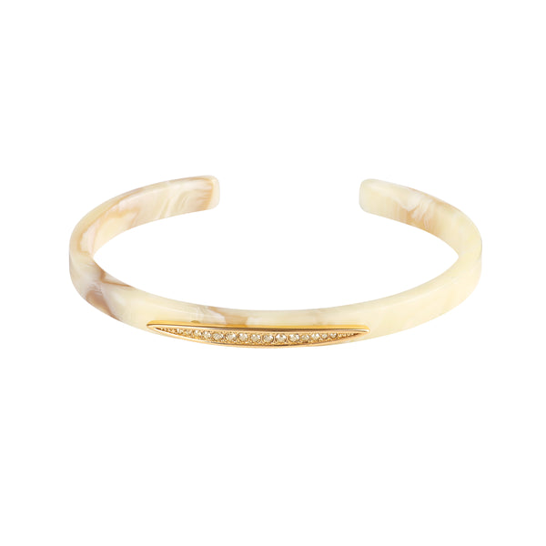 Pavé Navette Resin Cuff - Crystal/Gold Plated