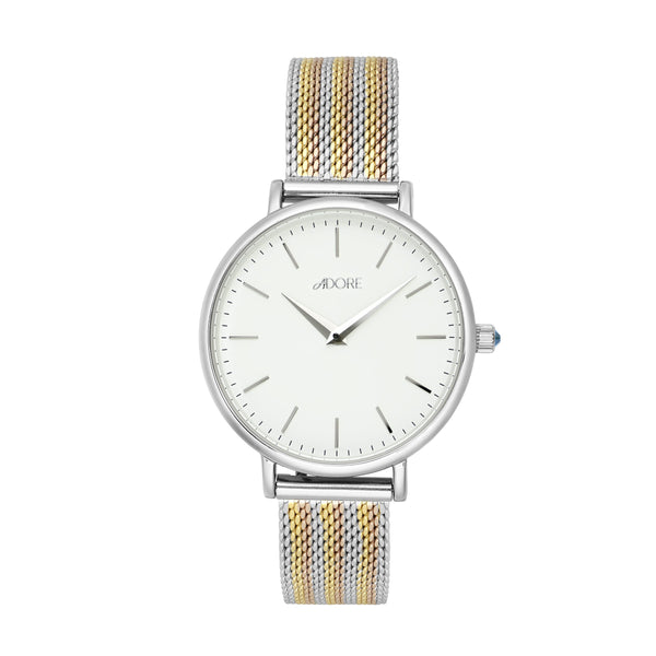 Adore Shimmer 33mm Tri Tone Mesh Watch Detail