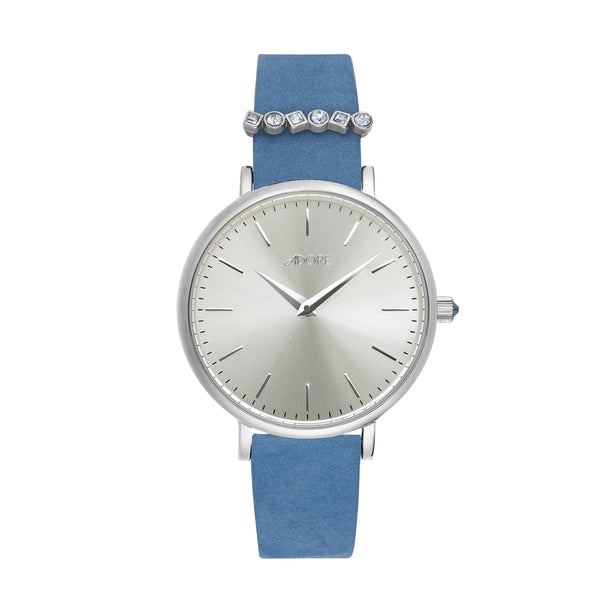Adore Brilliance 33mm Light Blue Leather Watch Detail